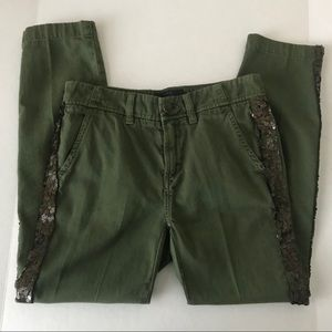 J. Crew green chino pants with sequin